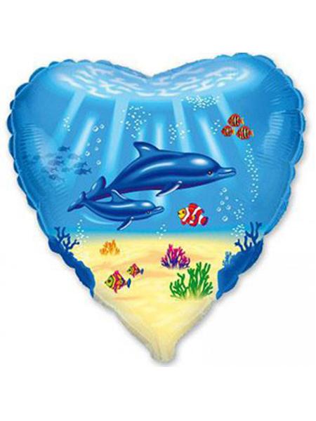 Сердечко с дельфинами